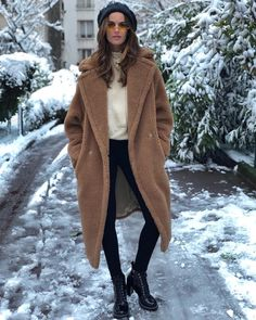Izabel Goulart cozies up in snowy Paris with the Max Mara Teddy Bear Icon  Coat Quirky 51f0ec353e0