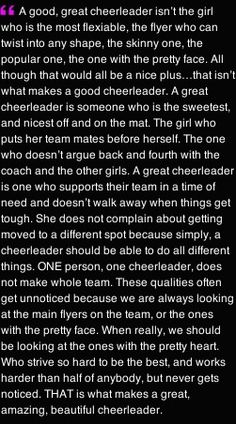 cheerleading stunting Megan I just read this and about a quarter of the way down it made me think of Amber. This whole thing perfectly describes her. I am so glad I got to meet h Cheer Coaches, Cheer Stunts, Cheer Dance, Cheer Tryouts, Team Cheer, Cheer Music, Cheer Flyer, Varsity Cheer, Cheer Qoutes