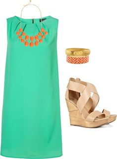 Green sheath dress. nude strappy wedges. bubble necklace. so much love for this outfit. Could do it in blue too.