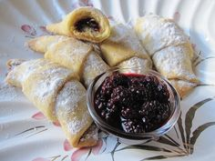 Kifle me gjem - Albanian filled butter crescents with jam.
