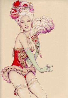 Marie Antoinette meets Pin up illustration.Hello possible TATTOO!
