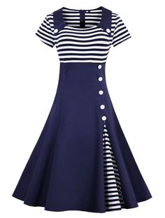 Wellwits Women's Vintage Pin Up A Line Stripes Sailor Dress at Amazon Women's Clothing store: