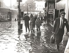 Outside the Odeon Cinema during the Ravensbourne floods on the 14/15 September 1969. Lewisham Local History and Archives