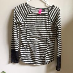 NWT Black & Gray Stripe Lace Detail Shirt Has thumb holes! New with attached tags. Available in juniors sizes small, medium and XL. Just Ginger Tops Tees - Long Sleeve