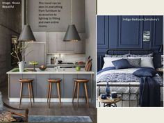 Image- House Beautiful Indigo-Bedroom,Sainsbury's This trend can be seen in everything from furniture to accessories to li...