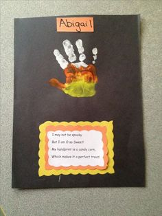 Candy Corn handprint! Cute and easy craft for Pre-school or Kindergarten! - I made up the poem - but you can add or embellish this craft any way that you want :-)