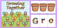 Growing Together Birthday Display Pack - This fantastic display pack contains all the resources you could need for your 'Growing Together Birthday' display! Birthday Display Board, Birthday Board, Birthday Month, Human Life Cycle, Eyfs Classroom, Birthday Charts, Spring Into Action, Classroom Organisation, Flowers For You