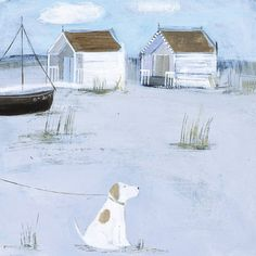 By the Beach Huts by Hannah Cole - art print from King & McGaw