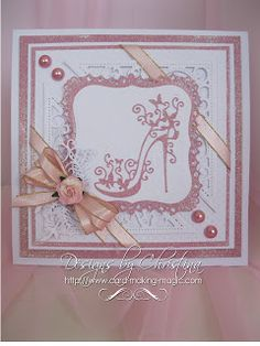 Flowers, Ribbons and Pearls: Tattered Lace Dies … - Schuh Cumpleaños Diy, Tattered Lace Cards, Birthday Cards For Women, Female Birthday Cards, Dress Card, Spellbinders Cards, Marianne Design, Pretty Cards, Paper Cards