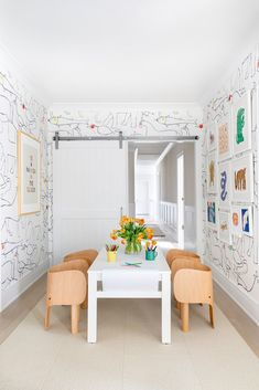 Chango & Co. built a home in Westchester, New York, for a young couple and their newborn baby. Here, the playroom is outfitted with furniture from Finnish Design Shop and Bien Fait wallpaper inspired by childish doodles. #dwell #howtodesignakidsroom #kidsroom #moderndesign #howto #diy #designtips Playroom Design, Kids Room Design, Playroom Decor, Playroom Ideas, Kid Playroom, Kids Playroom Colors, Kids Playroom Furniture, Kid Furniture, Design Bedroom
