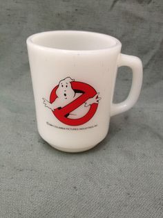 1984 Ghostbusters Movie Anchor Hocking Fire King Tall Promotional Coffe Mug