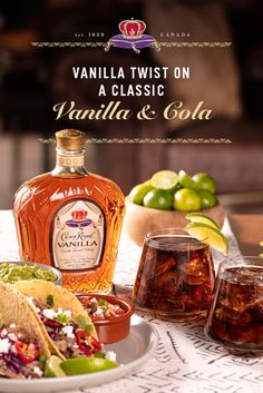 Classics never go out of style, and Crown Royal Vanilla adds a bit of extra style to a Crown and Cola.  Combine 1.5 oz Crown Royal Vanilla and 6 oz cola in a glass over ice. Garnish with a lime wedge.  Tea Recipes, Cocktail Recipes, Summer Recipes, Crown Vanilla, Alcohol Drink Recipes, Lime Wedge, Decorating Coffee Tables, Crown Royal, Summer Cocktails