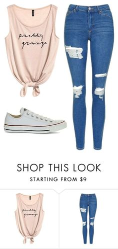"""Untitled #483"" by cuteskyiscute ❤ liked on Polyvore featuring Topshop and Converse"