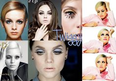 Twiggy - 60's mod look inspired by fashion icon Twiggy. Focal points are the black cut crease, heavy bottom lashes and peachy pink lips. I like the little twists like the spikey lashes or the blue liner.