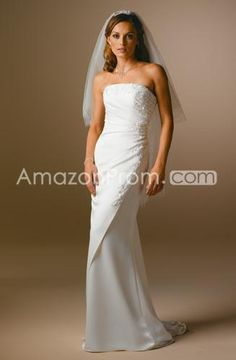 Fancy Sheath/Column Strapless Floor-length Brushing Chiffon Wedding Dresses (WDA1431)