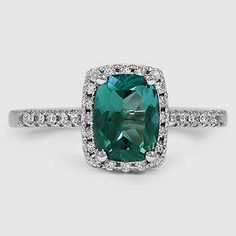 18K White Gold Sapphire Sonora Halo Diamond Ring // Set with a 6mm Teal Cushion Tourmaline (From Unique Colored Gemstone Gallery) #BrilliantEarth