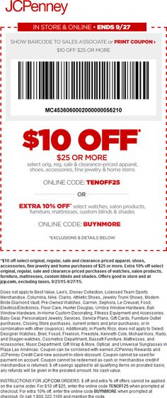 Pinned September 23rd: $10 off $25 at #JCPenney or online via promo code TENOFF25 #coupon via The #Coupons App