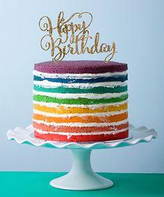 Rainbow Cake with Gold Glitter 'Happy Birthday' Cake Topper