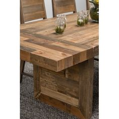 Kosas Home Hand Crafted Oscar Natural Extending Recovered Shipping Pallets  Dining Table