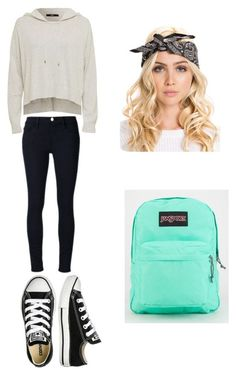 """Cool """"cute and casual outfit for school!!"""" by emily15myers on Polyvore featuring Frame Denim, Converse and JanSport... School Check more at http://fashionie.top/pin/39186/"""