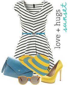 black white stripe dress yellow shoes blue belt