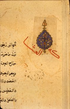 Detail of one of the ornamental medallions that have been cut out of an earlier (possibly Timurid) manuscript and pasted into the margins of this copy of Kitāb al-Ghiná wa-al-muná by al-Qumrī.