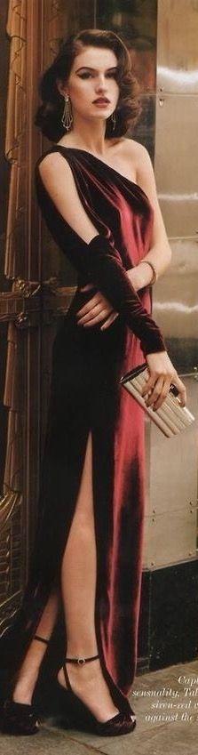Ralph Lauren red velvet dress #Luxurydotcom                                                                                                                                                                                 More