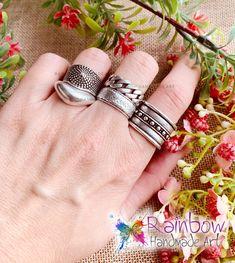 Handmade jewelry and more! Handmade Art, Handmade Jewelry, Handmade Rings, Rings For Men, Silver Rings, Rainbow, Rain Bow, Men Rings, Rainbows