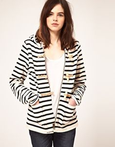 Gloverall Stripe Jersey Duffle Jacket
