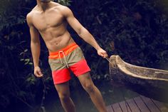 Neon Color Block Swim Shorts / Shop Online at www.ilot.co / ÎLOT Swim Shorts