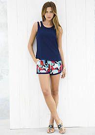 Kaari Blue™ Cutout Shoulder Tank & Printed Soft Short