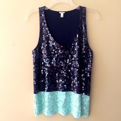 BLUE SEQUIN TANK Size small. Has stretch **bundles save 10%** no holds/no trades/no modeling/no asking for lowest J. Crew Tops Tank Tops