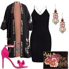 Una proposta perfetta per un party estivo, in cui si vuole adottare un look originale, che non lascia niente al caso. Il semplicissimo tubino nero, con scollo a V profondo e schiena scoperta è arricchito dalla giacca leggera e reversibile, in modello kimono, con fantasia floreale. Il tocco glamour è dato dai meravigliosi sandali, con tacco a spillo in rosa Schiapparelli, dall'elegante pochette e dai bellissimi orecchini, che richiamano i ricami... Fall Outfits, Fashion Outfits, Runway, Clothes, Dresses, Style, Italia, Cat Walk, Outfits