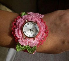 Crochet Flower Watch ~ Inspiration, no pattern