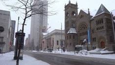 Montreal in Snow Storm Winter Feb 2016 - St Catherine , McGill College &...