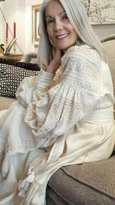 Ivory urban chic ethnic embroidered dress rustic style maxi loose dress