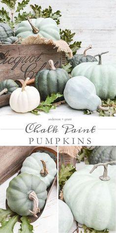 DIY chalk paint pumpkin decor. Fall decor, Halloween, thanksgiving, fresh or faux pumpkins, Annie Sloan chalk paint, rustoleum.  (Afflink)