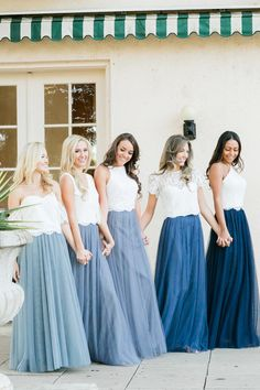 Bridesmaid Dresses Skylar Skirt Sample in Tulle Bridesmaid Separates Bridesmaid Skirt And Top, Two Piece Bridesmaid Dresses, Bridesmaid Separates, Tulle Bridesmaid Dress, Bridesmaid Outfit, Blue Bridesmaids, Wedding Bridesmaids, Wedding Gowns, Tulle Wedding