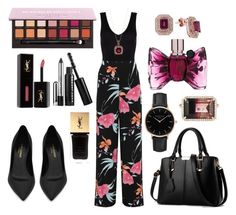 """Black Floral 💕🌹"" by ladytmllfashion19 ❤ liked on Polyvore featuring Hanro, WearAll, Yves Saint Laurent, Effy Jewelry, Topshop, Irene Neuwirth, Viktor & Rolf and Marc Jacobs"