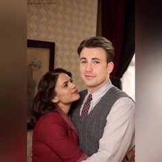 Chris evans and hayley atwell. 218 hearts collect share · peggy carter, captain america, and steve rogers image Marvel Dc, Marvel Comics, Marvel Heroes, Steve Rogers, Capitan America Chris Evans, Chris Evans Captain America, Agent Carter Captain America, And Peggy, Film Serie