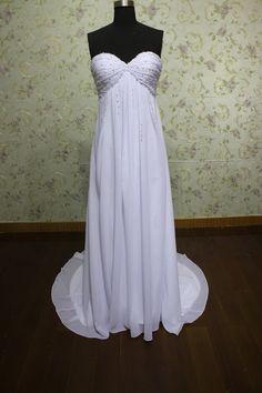 simple strapless sweetheart beaded beach chiffon wedding dress empire waist. $199.00, via Etsy.