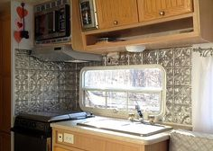 :: Maisie Toot ::: Maisie Toot ::Part 5:: faux tin panel backsplash application :: Travel trailer camper turned glamper renovation and remodel