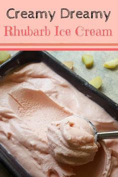 Divine Rhubarb Ice Cream full of rhubarb and vanilla flavour! The prefect ice cream for spring – Head to the recipe and learn how to make the creamiest homemade ice cream using the Jeni Britton Bauer Ice Cream Base!