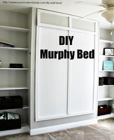 DIY Murphy bed for under $150 – with video and plans / says it took the 3 guys just 4 hours to make! Cama Murphy, Build A Murphy Bed, Queen Murphy Bed, Murphy Bed Plans, Murphy Bed Office, Murphy Bed Desk, Murphy-bett Ikea, Ikea Beds, Hideaway Bed