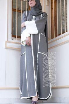 online hijab clothing www.annahariri.com Abaya, Coloured abaya, Dubai style abaya, Grey abaya, White Abaya