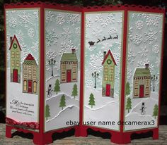 Handmade Screen Divider Christmas card using Holiday Home from Stampin' Up.  Hand stamped by: Quinn