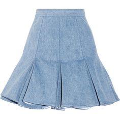 Balmain Pleated denim mini skirt