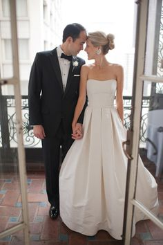 Modern Ballgown Wedding Dress with Pleats by Suzanne Hanley