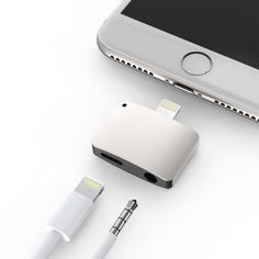 Silver iPhone 7 / 7 Plus Lightning Port to Headphone Jack AND Lightning Port Adapter