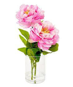 Another great find on #zulily! Hot Pink Peonies Arrangement in Glass Vase #zulilyfinds